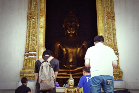 The buddha in thai temple at Bangkok