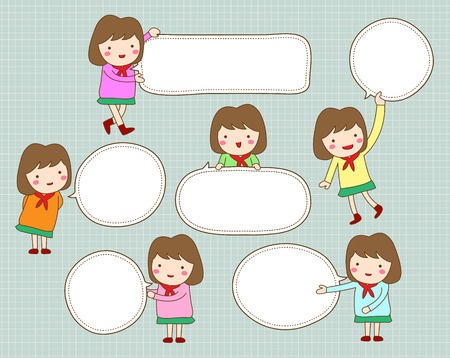Cute girl with blank text speech bubble