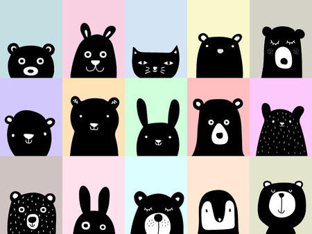 Animal posters, cute wall art pictures, cartoon animal illustration