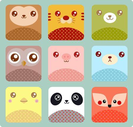 Cute animal icons Çizim