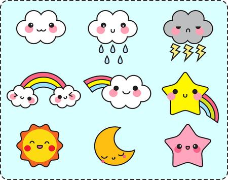Cute cloud sun moon star and rainbow set, weather set