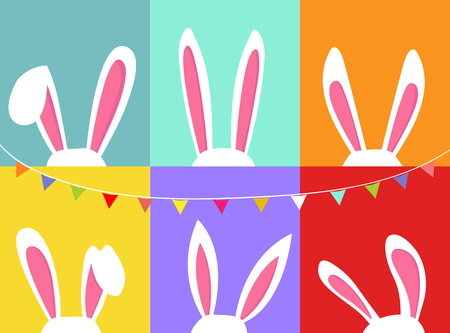 Set of easter bunny ears, with party flag bunting, colorful background