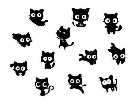 Set of black cats, cute cartoon Çizim