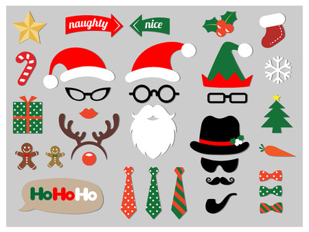 happy black people: Christmas photo booth props design elements set Illustration