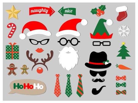 Christmas photo booth props design elements set Illustration