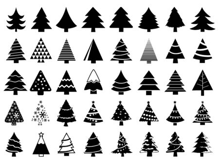 Set of christmas trees Çizim