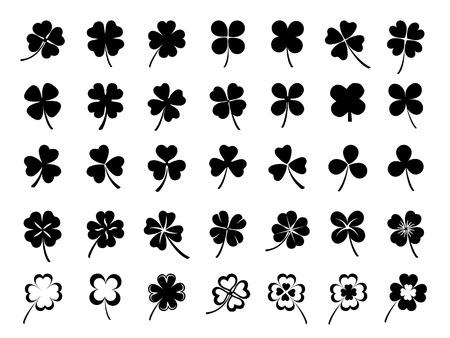Set of three & four leaf clovers