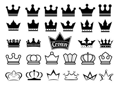 Kroon pictogrammen Stock Illustratie
