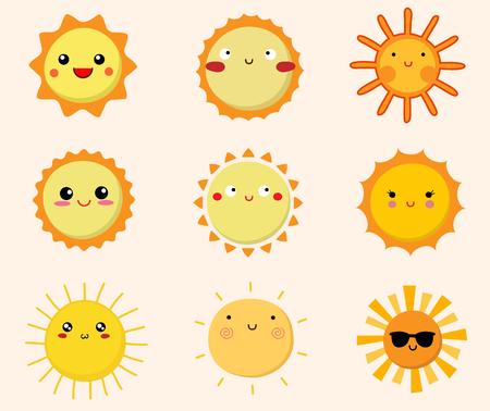 Set of cute sun icons