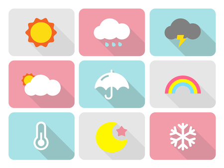 Cute weather flat icons with long shadow