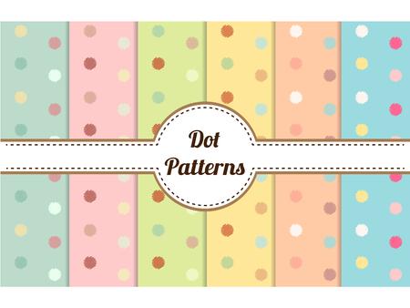 Set of polka dot seamless patterns Çizim