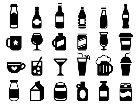 Set of drink and beverage icons Çizim