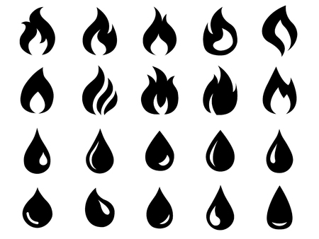 Fire and water icons set