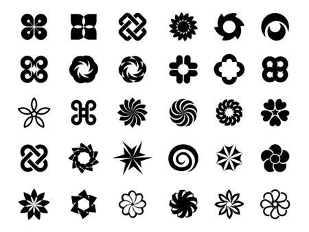 Set of flower logo vector Çizim