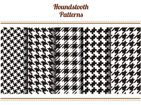 Set of seamless black and white houndstooth vector patterns
