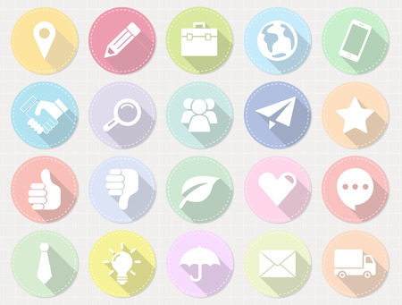 set of flat business icons with long shadow