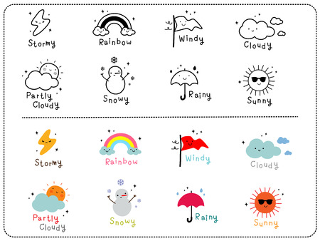 Cute weather icons, outline and colorful cute icon. Çizim