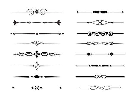 Conjunto de elementos decorativos, frontera y reglas de marco de página