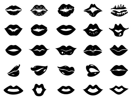 shapes cartoon: Set of lips icon