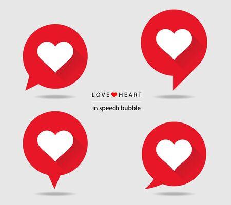 Love heart in speech bubble flat icons with long shadow Çizim
