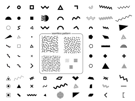Set of geometric retro memphis style elements and seamless abstract geometric pattern in retro memphis style