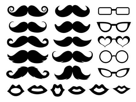 Set of moustaches, glasses and lips Çizim