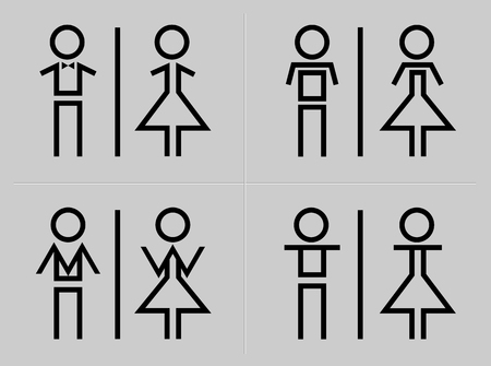 Man and woman restroom sign Çizim