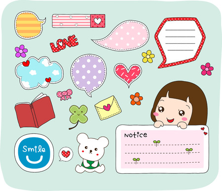 Set of labels, stickers, speech bubbles, frames