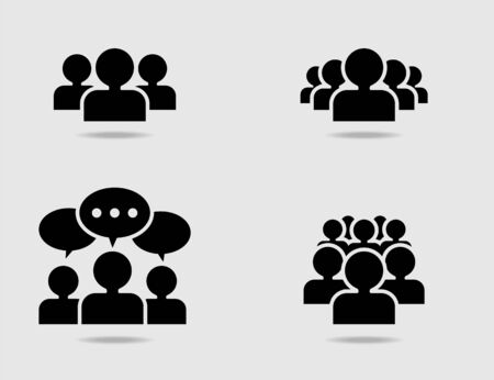 equal opportunity: Crowd of people icon set Illustration