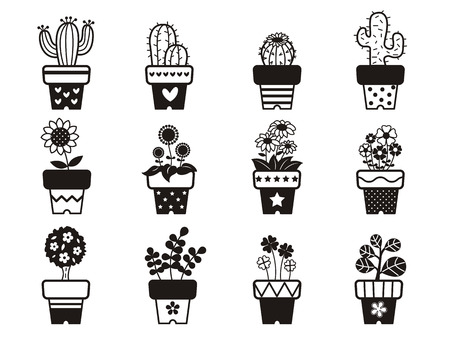 Set of cute plants and flowers in pots