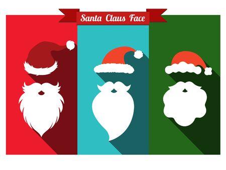 Santa claus face flat icons with long shadow. Set of santa hats and beards. Illustration