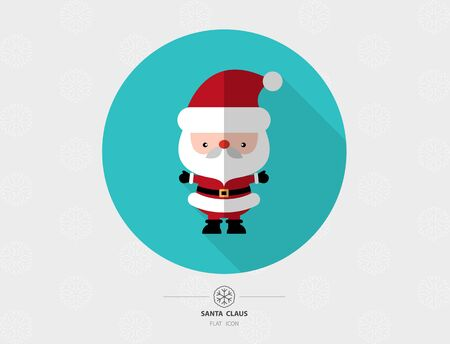 Santa Claus Flat Design With Long Shadow On Snowflake Background