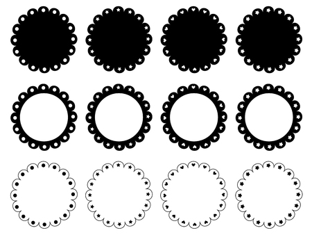 Scalloped edge circle frame set  イラスト・ベクター素材
