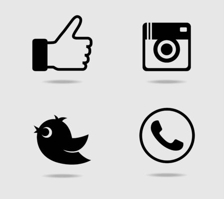 receiver: Camera, thumb, bird and telephone receiver icons Illustration