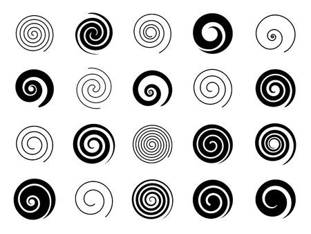 Conjunto de elementos espirales Ilustración de vector