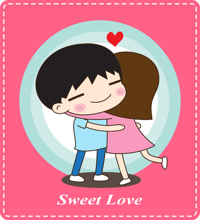 Cute couple hugging, sweet love