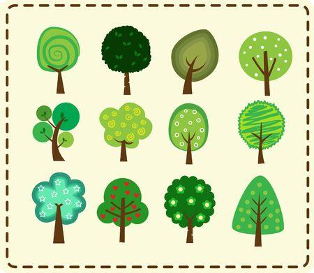 Cute tree icon set Çizim