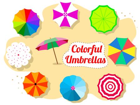 Set of colorful umbrellas on the beach Çizim