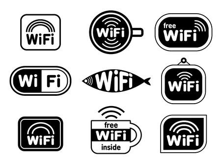 Set of wifi stickers