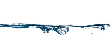 blue water, water splash isolated on white background Banco de Imagens