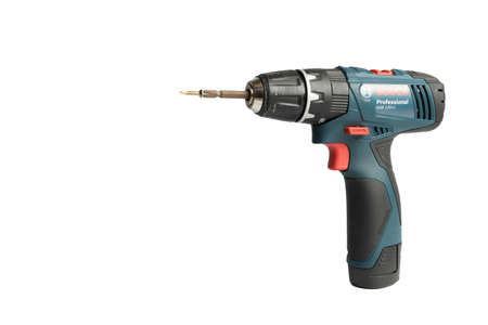 Ubon Ratchathani, Thailand -June 19,2019:Bosch power electric drill generation GSB 120 LI in isolated on white background, Close-up hand holding electric drill in isolated white background