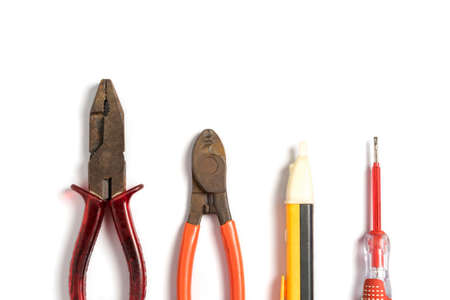 Top view of Working tools for electrician,screwdriver,plierl,on white background.