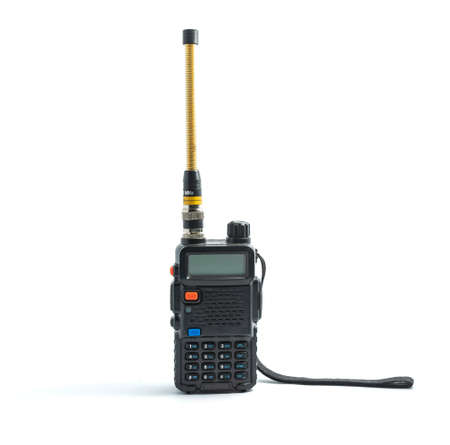 Black walkie talkie isolated on white background