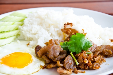 fried pork and rice Stock Photo - 22548788