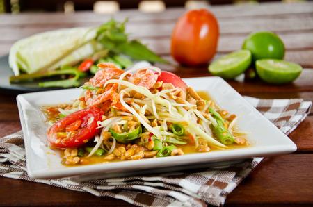 papaya salad is very famous food of Thailand photo