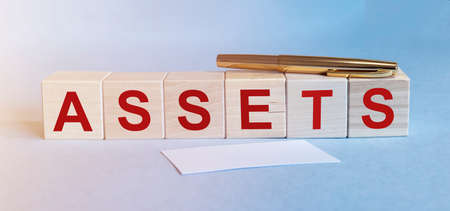 word Assets on wooden cube blocks. Financial accounting. Money concept, blue background