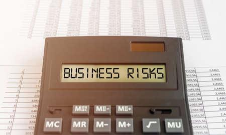 Business risks inscription words. Risk management and planning.