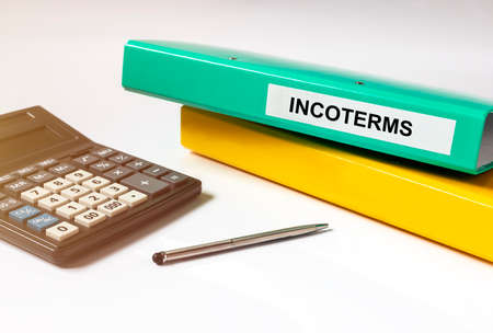 Incoterms inscription. international commercial terms for logistics and shipment of cargo. 스톡 콘텐츠