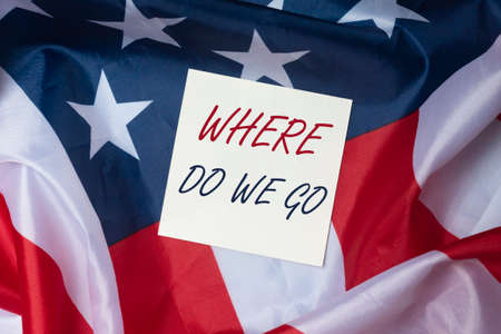 Where do we go. Question of future in life and business. Prediction of human world and for USA. Stock Photo