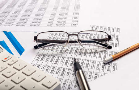 Business financial concept. Accountant workplace with documents Stock Photo